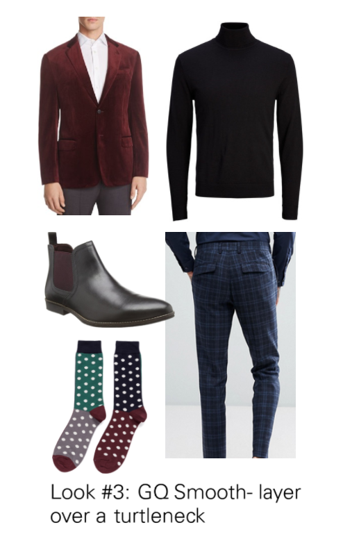 a06f79b24aa This is for the true trend setter. Pair your velvet with a black turtleneck  and pattern dress slacks. The Chelsea boot is right on trend this season  which I ...
